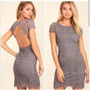 Lulus Hidden Talent Backless Gray Dress